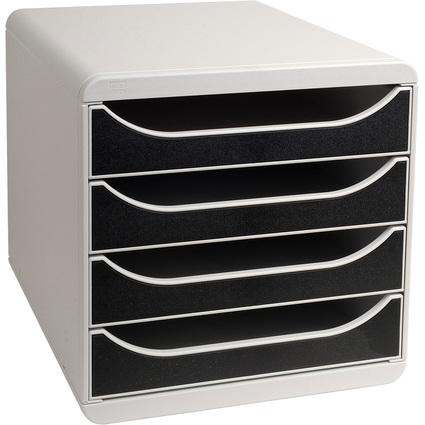 EXACOMPTA Schubladenbox BIG-BOX, 4 Schübe, lichtgrau