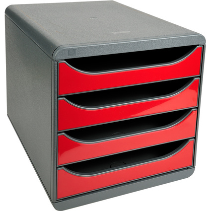 EXACOMPTA Schubladenbox BIG-BOX, 4 Schübe, karminrot