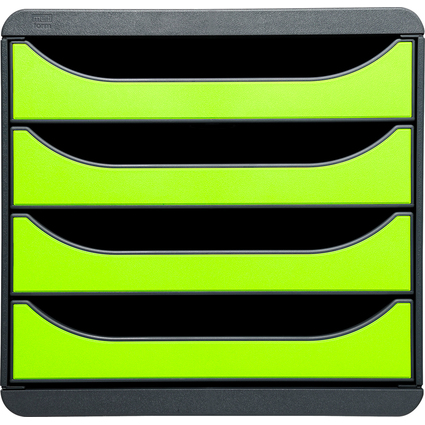 EXACOMPTA Schubladenbox BIG-BOX, 4 Schübe, lemongrün