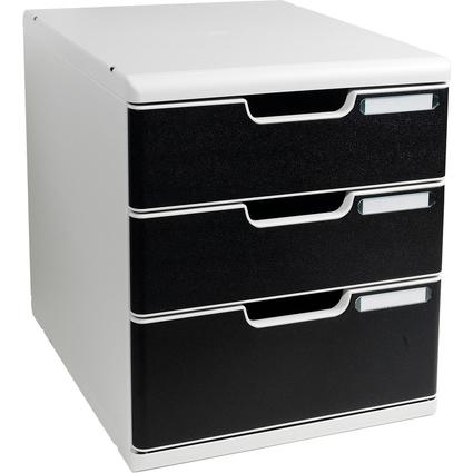 EXACOMPTA Schubladenbox MODULO A4, 3 Schübe, schwarz