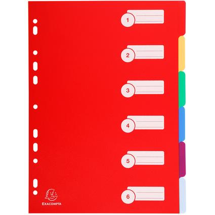 EXACOMPTA Kunststoff-Register, blanko, A4, 6-teillig