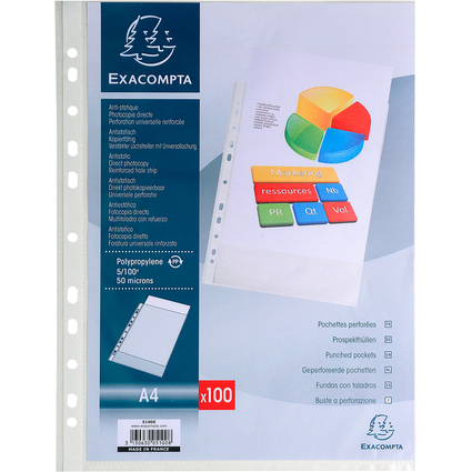 EXACOMPTA Prospekthülle, DIN A4, PP, genarbt, transparent