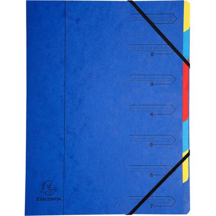EXACOMPTA Ordnungsmappe, DIN A4, Karton, 7 Fächer, blau