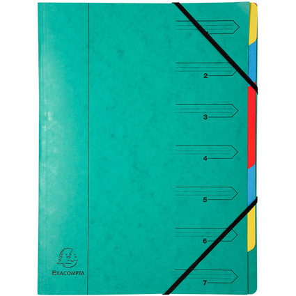 EXACOMPTA Ordnungsmappe, DIN A4, Karton, 7 Fächer, grün