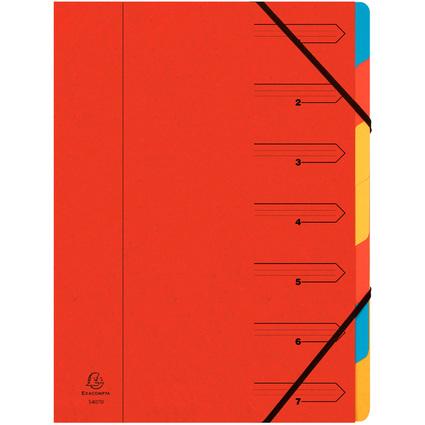 EXACOMPTA Ordnungsmappe, DIN A4, Karton, 7 Fächer, rot