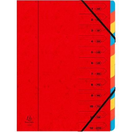 EXACOMPTA Ordnungsmappe, DIN A4, Karton, 12 Fächer, rot