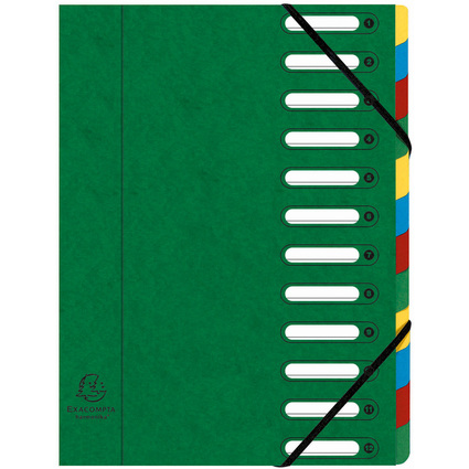EXACOMPTA Ordnungsmappe, DIN A4, Karton, 12 Fächer, grün
