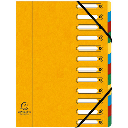 EXACOMPTA Ordnungsmappe, DIN A4, Karton, 12 Fächer, gelb
