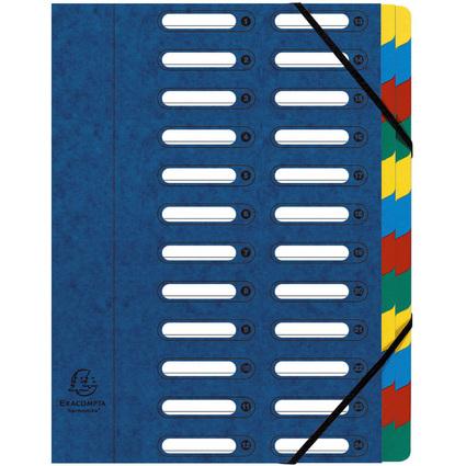 EXACOMPTA Ordnungsmappe, DIN A4, Karton, 24 Fächer, blau