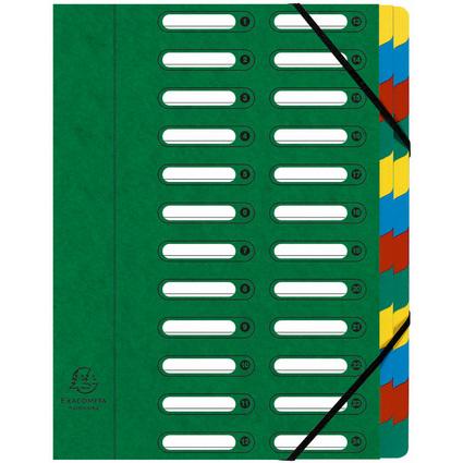EXACOMPTA Ordnungsmappe, DIN A4, Karton, 24 Fächer, grün