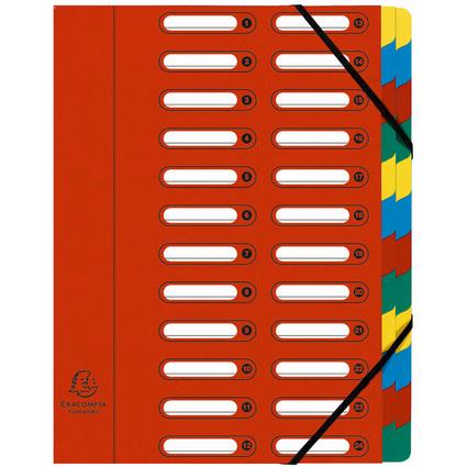 EXACOMPTA Ordnungsmappe, DIN A4, Karton, 24 Fächer, rot