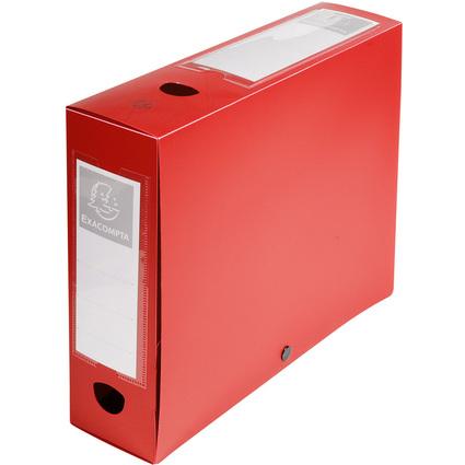 EXACOMPTA Archivbox mit Druckknopf, PP, 80 mm, rot