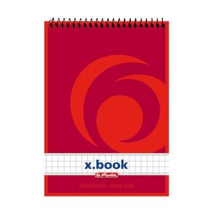 herlitz Spiralnotizblock x.book, DIN A6, 50 Blatt, kariert