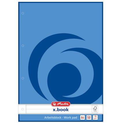 herlitz Arbeitsblock x.book DIN A4, 50 Blatt, liniert
