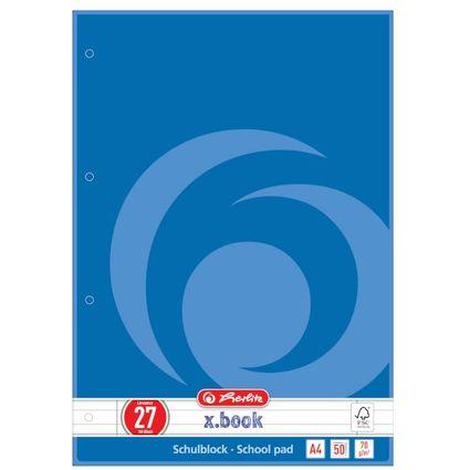 herlitz Schulblock x.book, DIN A4, Lineatur 27 / liniert