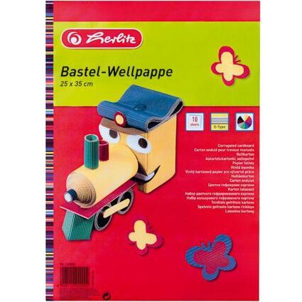 herlitz Bastelwellpappe, 250 x 350 mm, farbig sortiert