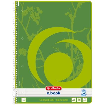 herlitz Recycling Collegeblock x.book, A4, 80 Blatt, liniert