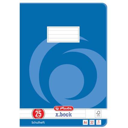 herlitz Schulheft x.book, DIN A4, Lineatur 25 / liniert