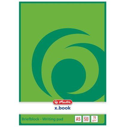 herlitz Briefblock x.book, A5, ungelocht, 50 Blatt, blanko