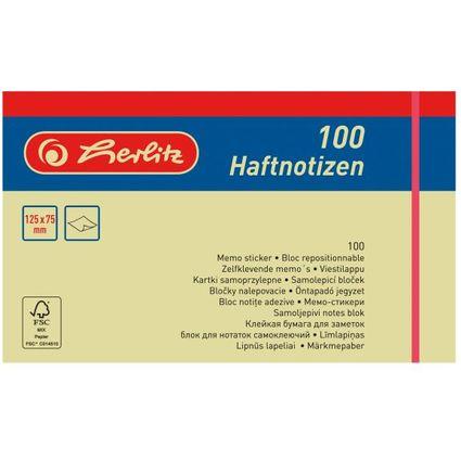 herlitz Haftnotizen, 75 x 125 mm, hellgelb