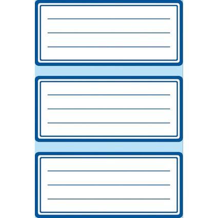 herlitz Buchetiketten, weiß mit blauem Rahmen, 68 x 37 mm
