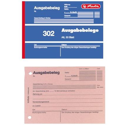 """herlitz Formularbuch """"Ausgabebeleg 302"""", DIN A6, 50 Blatt"""