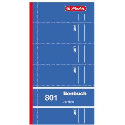 """herlitz Formularbuch """"Bonbuch 801"""", 90 x 198 mm, sortiert"""