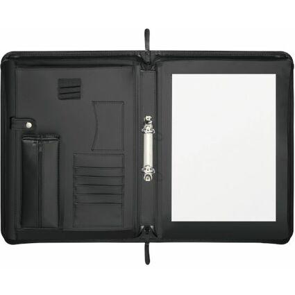 herlitz Ringbuchmappe, DIN A4, Kunstledereinband, schwarz