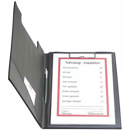 herlitz Klemmbrett-Mappe, DIN A4, Kunststoffbezug, schwarz