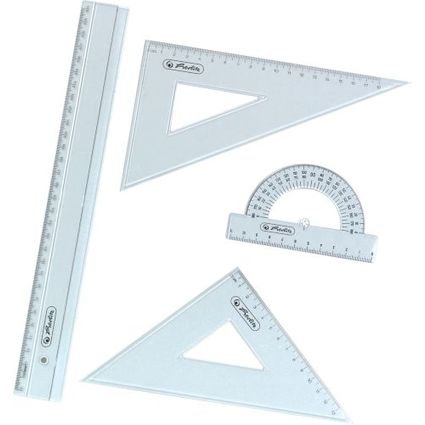 herlitz Geometrie-Set, 4-teilig, transparent