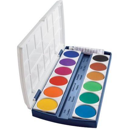 herlitz Deckfarbkasten ST12, 12 Farben, aus Kunststoff