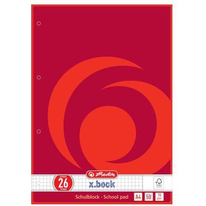 herlitz Schulblock x.book, DIN A4, Lineatur 26 / kariert