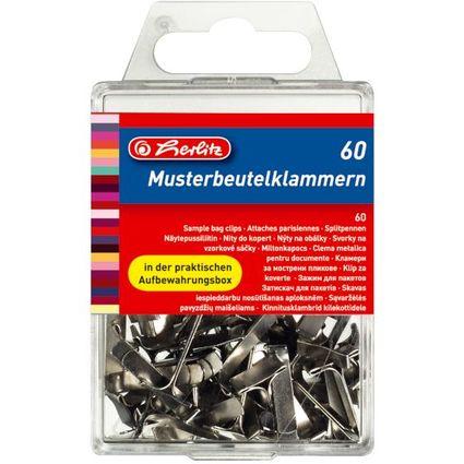herlitz Flachkopf-Musterbeutelklammern, weißblank, 14 mm