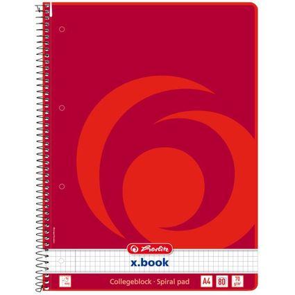 herlitz Collegeblock x.book, DIN A4, 80 Blatt, kariert