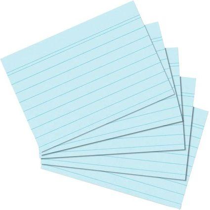herlitz Karteikarten, DIN A5, liniert, blau