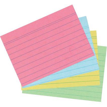 herlitz Karteikarten, DIN A7, liniert, farbig sortiert