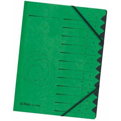 herlitz Ordnungsmappe easyorga, A4, Karton, 12 Fächer, grün