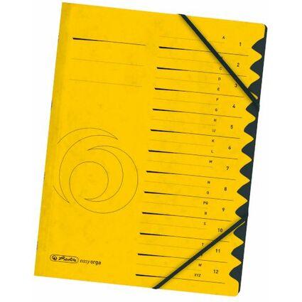 herlitz Ordnungsmappe easyorga, A4, Karton, 12 Fächer, gelb