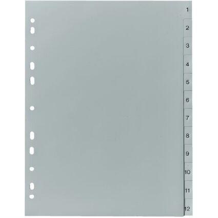 herlitz Kunststoff-Register, Zahlen, A4, 12-teilig, grau