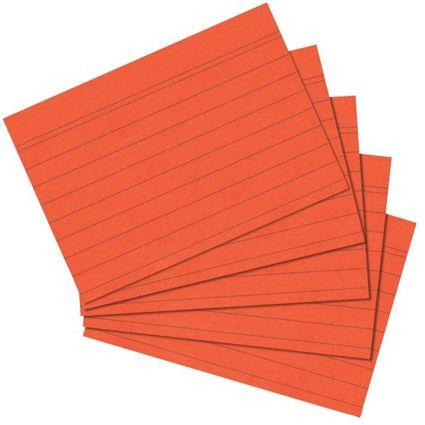 herlitz Karteikarten, DIN A6, liniert, orange