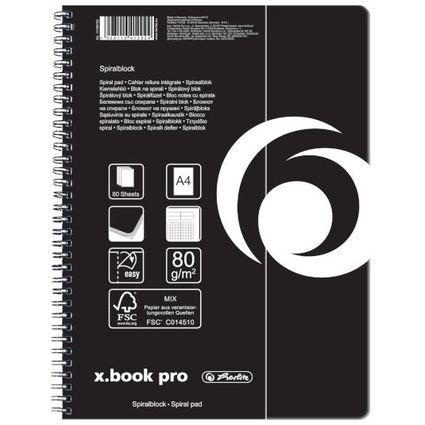 herlitz Collegeblock x.book pro, DIN A4, 80 Blatt, kariert