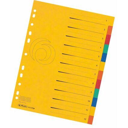 herlitz Karton-Register easyorga, A4 Überbreite, 12-teilig