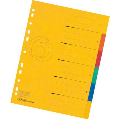 herlitz Karton-Register easyorga, A4 Überbreite, 6-teilig