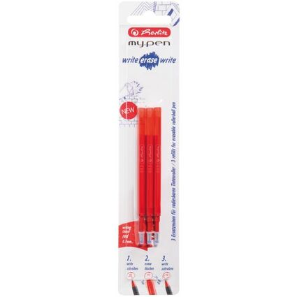herlitz Tintenroller-Minen für my.pen - radierbar, rot