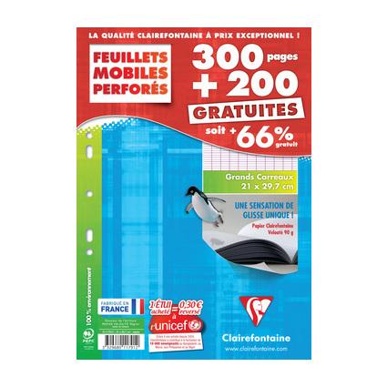 Clairefontaine Feuillets mobiles perforés, A4, séyès