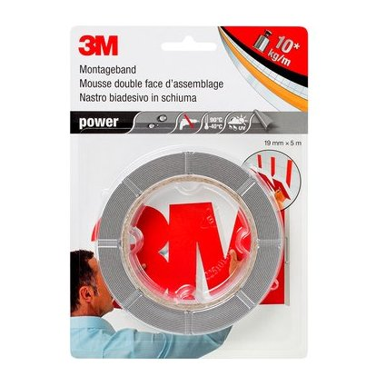 "3M Montageband ""power"", 19 mm x 5 m, grau"