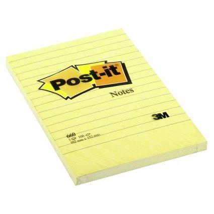 Post-it Haftnotizen, 102 x 152 mm, liniert, gelb