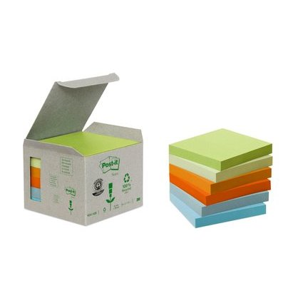 Post-it Haftnotizen Recycling, 76 x 76 mm, 6-farbig
