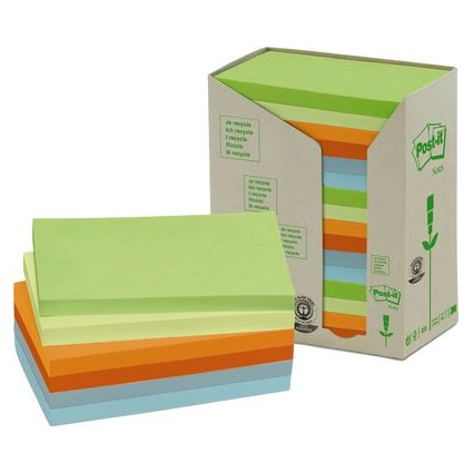 Post-it Haftnotizen Recycling, 127 x 76 mm, 6-farbig