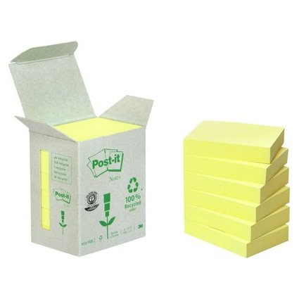 Post-it Haftnotizen Recycling, 38 x 51 mm, gelb